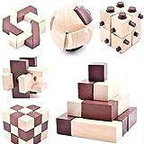 B&Julian  10 Knobelspiele Spielzeug 3D IQ Puzzle Holz Spiele Geschicklichkeitsspiel Denkspiel Holzpuzzle Spielsammlung für Kinder Erwachsene Ideen Adventskalender