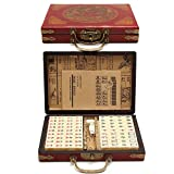 bowlder Mahjong Brettspiel 144 PCS Tragbares Mah-Jongg mit Archaistischer Lederbox und Manuellem Partyspiel