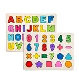 Alytimes Alphabet-Blöcke, die Puzzlespiel Lernen   Lernspielzeug aus Holz für Großbuchstaben und Zahlen - Ideal für das frühe Lernen im Kindergarten für Kleinkinder und Vorschulkinder