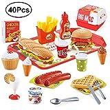 BeebeeRun 40 Stück Küchenspielzeug für Kinder, Spielzeug 3+ Jahre, Lebensmittel Spielzeug,Kinder Rollenspiele Spielzeug für Jungen und Mädchen,Geschenk