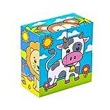 Bimi Boo 6 in 1 Puzzle Tiere Würfel Spielzeug aus Holz für Kleinkinder und Kinder im Vorschulalter ab 2 Jahren- Holzpuzzle, Motorik Kinderspielzeug, 4 Bausteine