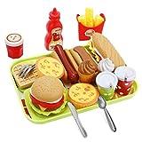 21 stücke Baby küche Lebensmittel Spielzeug, Kinder so tun als ob Spielen Lebensmittel Spielzeug schneiden Lebensmittel Set Hamburger Hotdog Geschirr Spielzeug Bildung Spielzeug