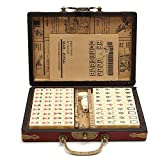 iBaste 144 STÜCKE Reise Mahjong Set Tragbarer Mah-Jongg Mit Archaistischer Lederbox Und Anleitung In Englisch