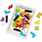 SeeKool Tetris Tangram Holzpuzzles, Bunten Lernspielzeug Intelligenz Pädagigisches Gehirntraining Spielzeug, geometrisch Formen mit Box Knobelspiel für Kinder Geschenk ab 3 Jahren(40 Stück)