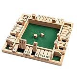 Scucs Holz Brettspiel, 4-Spieler Shut The Box Würfelspiel Mathematik Traditional Pub Board Würfelspiel Reisen 4 Spieler Great Family Brettspiele Urlaub unterhaltsames Spiel