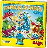 Haba 303402 - Funkelschatz Brettspiel, lustiges Mitbringspiel für 2-4 Spieler ab 5 Jahren, mit 90 Funkelsteinen und 9 Ringen in Eis-Optik, schönes Geschenk zum Geburtstag